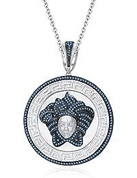 "Silvernshine 1.25 Ct Round Cut Aquamarine Versa Pendant 18"" Chain In 14K White Gold Over"