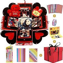 MMTX Caja de Regalo Creative Explosion Box, DIY Álbum de Fotos Scrapbook 5.9x5.9x5.9 Inche Álbum de Fotos de Scrapbooking Caja de Regalo para Cumpleaños Día de San Valentín Aniversario Navidad...