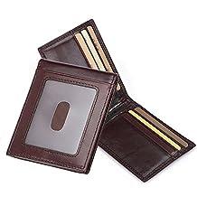 Clip de Dinero Cuero Cartera - Jingleer Slim Billetero Tarjetero para Hombre De Crédito Cartera de