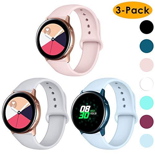 CAVN Armband kompatibel mit Samsung Galaxy Watch 42mm /Active/Garmin Vivoactive 3 Armband [3-STÜCK], 20mm Weiches Silikon Armband Damen Herren Ersatz für Garmin Vivoactive 3/Forerunner 645, Klein