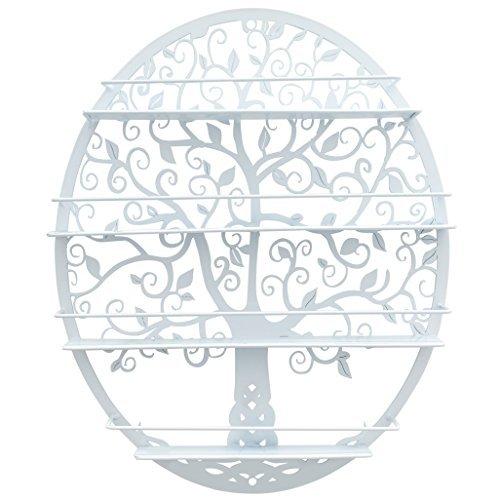 SoCal Buttercup Ätherische Öle & Nagellack Aufbewahrungsbox für bis zu 10 ml. Flaschen - Oval geformtes Metall mit Baum-Silhouette - Wandmontiertes rundes Rack-Ölflaschenlager (weiß)