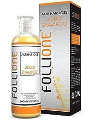 FolliOne Shampoo gegen Haarausfall – stoppt Haarverlust und regt Haarwuchs an – effektiv auch gegen Schuppen – mit Pirokton-Olamin, Koffein, Salizin, 4-Terpineol & Pflanzen-Extrakten – SLS frei