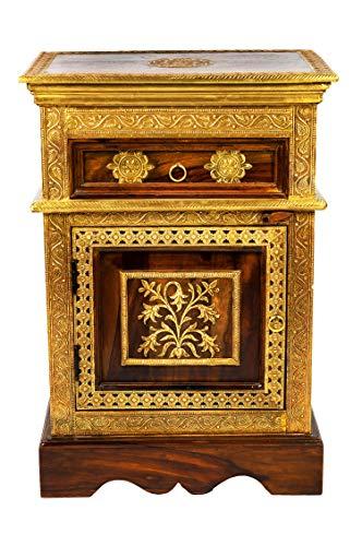 Orientalischer Holz Nachttisch Gowri Dunkel Holz Messing 65cm Hoch | Orient Vintage Nachtkommode orientalisch handverziert | Indischer Nachtschrank auch für