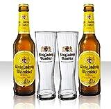 König Ludwig Weissbier Vielfalt mit 2x0,33 L Bierflasche Weissbier und 2 Stück Gläser 0,33l