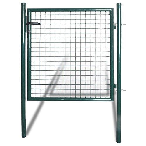 Festnight Einzeltor Zauntor aus pulverbeschichtetem Stahl Zauntür Gartentür Gartentor Hoftor 100 x 150 cm
