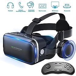 Honggu Shinecon Casque de réalité virtuelle 3D avec télécommande pour jeux et films 3D