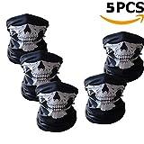 Ailiebhaus 5 Stücke Schädel Maske Skeleton Sturmmaske Schlauchtuch Halstuch mit Totenkopf- Skelettmasken für Motorrad Fahrrad Ski Paintball Gamer Karneval Kostüm Skull Maske