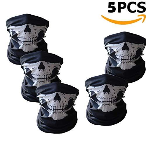 Adkwse 5 Stücke Schädel Maske Skeleton Sturmmaske Schlauchtuch Halstuch mit Totenkopf- Skelettmasken für Motorrad Fahrrad Ski Paintball Gamer Karneval Kostüm Skull Maske (Halten Sie Es Sauber Für Erwachsenen Kostüm)