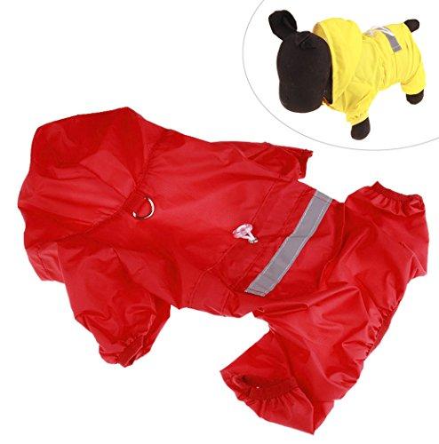 Xiaoyu chaqueta impermeable para perro de mascota con chubasquero impermeable y tiras reflectantes de seguridad ajustables para perro, rojo, XXL