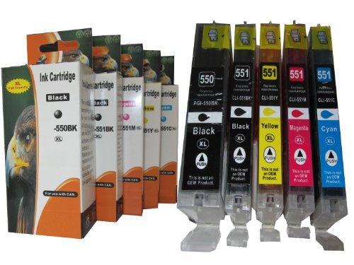 5 Cartuchos de tinta XL con chip integrado y indicador de nivel de tinta compatibles con CANON Pixma ip 7250 8750 ; Canon Pixma MG 5450 5550 6350 6450 7150 ; Canon Pixma MX 725 925 / Canon Pixma ix 6850 Corresponden a los cartuchos 1x Canon PGI-550PGBK XXL Black, 1x Canon CLI-551BK XL photoblack, 1x Canon CLI-551C XL Cyan, 1x Canon CLI-551M XL Magenta, 1x Canon CLI-551Y XL