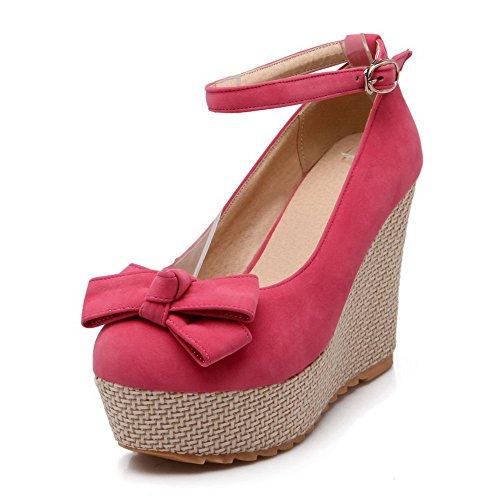 AllhqFashion Damen Mattglasbirne Hoher Absatz Rund Zehe Schnalle Pumps Schuhe Pink