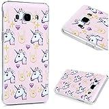 MAXFE.CO Funda Carcasa para Samsung Galaxy J5 (2016) Case Ultrafina de PC Rigida Plástico Duro Cover con el Dibujo de Amor del unicornio
