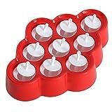 QBSM Rot Stieleisformer 9 Stück Eis am Stiel Formen aus Silikon BPA Frei,Eisformen für Kinder und Erwachsene