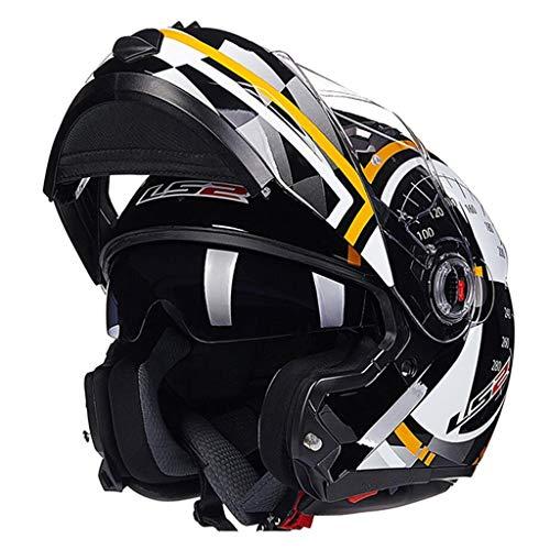 Casque de moto LS2 ECER 22-05 certifié Flip-Up Front Double Visor (Couleur : Le jaune-L 54x55cm)