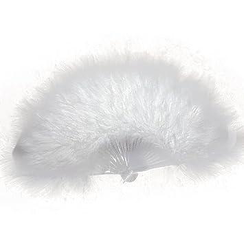 SODIAL(R) FEMININ PLUME EVENTAIL 1920s MOULIN ROUGE BURLESQUE FASTUEUX  VETEMENT COSTUME ACCESSOIRE , White Amazon.fr Vêtements et accessoires