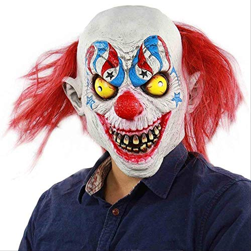 YMKXXB Halloween Scary Evil Clown Maske Double Face Latex Maske Halloween Kostüm Maske Clown Mit Haaren Für Erwachsene Masken   Zirkus Clown (Scary Zirkus Kostüm)