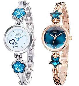 Addic Analogue White and Blue Dial Lovely Women's Watch -Combo of 2