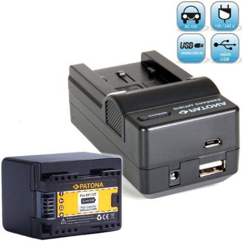 Bundlestar Akku Ladegerät 4 in 1 inkl. Ladeschale + PATONA Qualitätsakku für Canon BP-727 (echte 2400mAh) passend zu -- Canon LEGRIA HF M52 M56 -- M506 -- R36 R37 R38 R46 R48 R66 R68 R76 R78 R86 R88 -- R306 R406 R506 R606 R706 R806 usw. -- NEUHEIT mit Micro USB-Anschluss