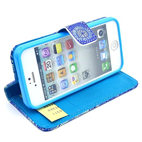 iPhone SE Hülle Case,iPhone 5S Hülle Case,Gift_Source [Smile] [Kickstand Flip] [Card Slot] Cute PU Leder Brieftasche Hülle Case Soft TPU Hülle Case Folio Flip Hülle Case Cover für Apple iPhone SE / iP E01-26-Blau Totem