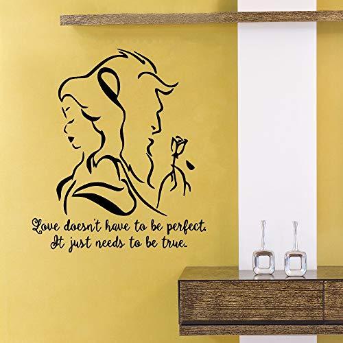 Und Das Biest Wandtattoo Romantische Vinyl Wandaufkleber Schlafzimmer Wohnzimmer Dekor Liebhaber Geschenk Abnehmbare Film Wandbild 42x49 cm ()