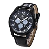 Männer Armbanduhren, Zarupeng Mode Elegant Lederband Uhren Analog Quarz Runde Edelstahl Zifferblatt Armbanduhr Klassisch Uhr Lederquarzuhr (One Size, Black)
