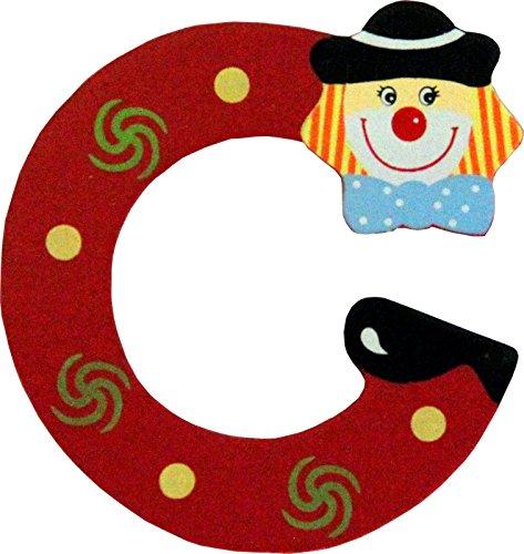 Holzbuchstaben und Zahlen- Clowns - mit Klebepad in zufälliger Farbe - Rimini Baustoffe® - Ideal für Türen und Schränke (Buchstabe C)