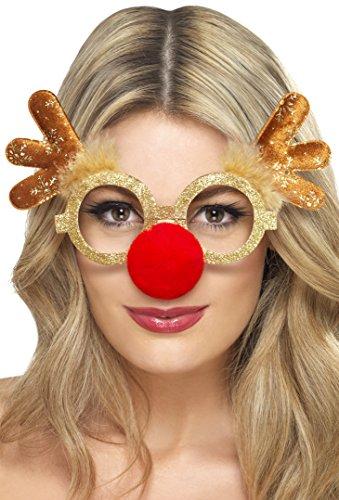 Lustige Rentier Brille mit roter Nase für Damen und Herren für die Weihnachtszeit (Weihnachtsfeier Kostüm Ideen Für Erwachsene)