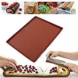 Genossen Silikon Backmatte, Silicone Swiss Roll Mat Multifunctional Non Stick Cake Baking Pizza Pastry Pad Tray Tools