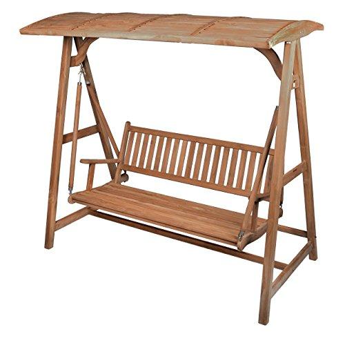 Divero Hollywoodschaukel 3-Sitzer Gartenschaukel Schaukel-Bank aus massivem Teak-Holz 200 cm breit...