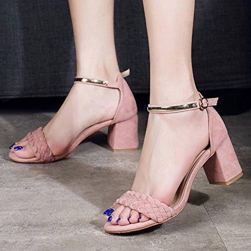 Donne Di Sandali Scarpe Caviglia Blocco Punta Delle Rosa Modo Aperta Coolcept q7UxBq