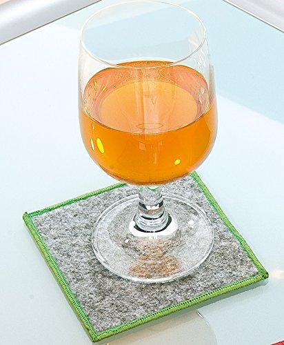 Filzuntersetzer quadratisch 10 x 10 cm mit Saum farbig umsäumt Rand gesäumt Filz Untersetzer hellgrau mit grünem Rand 4er Set Gilde