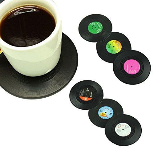 6PCS/set Home Tisch Tasse Matte Creative Decor Kaffee trinken Tisch-Sets Geschirr Spinning Retro Vinyl CD Getränke Untersetzer