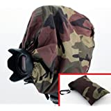 Woodlands Camouflage Camera Rain Cover + Storage Pouch For Camera Rain Cover For DSLR/SLR Cameras Protects Against Rain, Snow, And Dust.