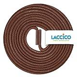 LACCICO Finest Waxed Laces Durchmesser 2 mm Runde Dünne Elegante Gewachste Schnürsenkel Farbe: Braun Länge: 75 cm