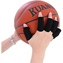 kuangmi 5pcs Deportes simple-style dedo manga Protector elástico vendas Bandas Finger Guard para Baloncesto Voleibol Béisbol Bádminton Tenis Negro negro