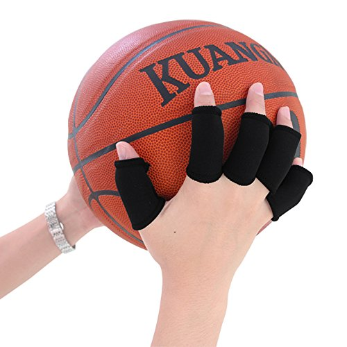 Kuangmi 5 x Sport Simple-Style Finger Sleeve Protector Elastic Finger Guard Bands Packungen für Basketball Volleyball Baseball Badminton Tennis, Schwarz