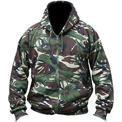 Para hombre con capucha con cremallera y capucha combate militar ejército DPM camuflaje chaqueta de forro polar nuevo DPM Camo XX-Large