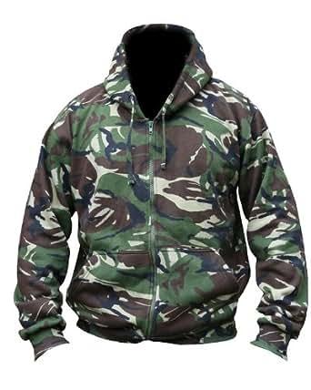 Mens Hooded Full Zip Top Hoodie Military Combat Army DPM Camo Fleece Jacket New (Medium)