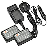 DSTE® 2x LP-E10 Rechargeable Li-ion Battery + DC117U Travel and Car Charger Adapter for Canon EOS 1100D, EOS 1200D, EOS Kiss X50, EOS Kiss X70, EOS Rebel T3, EOS Rebel T5 Digital Camera
