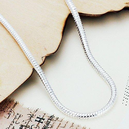 Skyllc® Catena 3 millimetri braccialetto d'argento della mano Snake Bone freddo