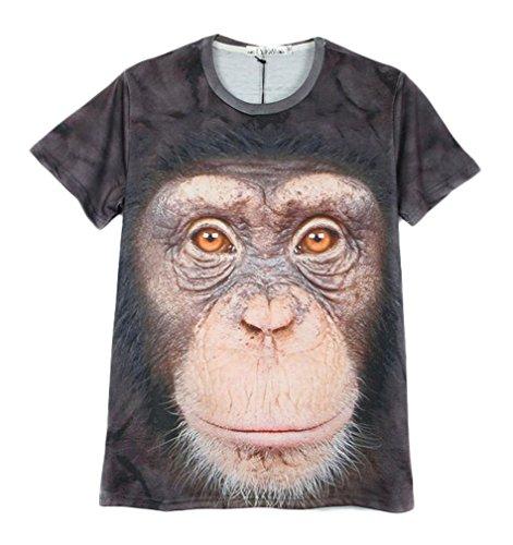 Pretty321 Men's Hip Hop 3D Orangutan Print Creative Fashion Graffiti T-Shirts Amazon
