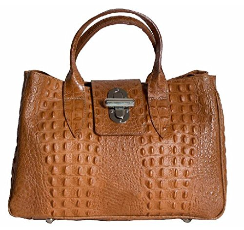 SUPERFLYBAGS Borsa Bauletto Donna in Vera Pelle stampa Coccodrillo modello Milena Large Made in Italy cognac
