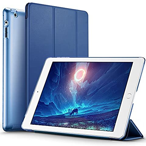 Coque iPad 2 iPad 3 iPad 4 Case Bleu, ESR Smart Case Cover Housse Etui Coque de Protection Rigide Ultra fine avec Support Multi-Angle Fermeture Magnétique Veille Automatique pour Apple iPad 4 (2012) iPad 3 (2012) iPad 2 (2011) Modèle A1395 A1396 A1397 A1416 A1430 A1403 A1458 A1459 A1460 (Série Yippee, Bleu Marin)