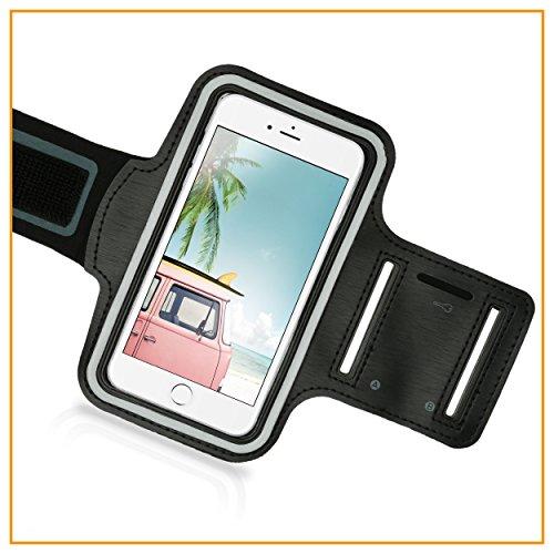 Naruba Media Sportarmband Handy-Hülle universal für iPhone | Samsung Galaxy S6/S 6 S7 | uvm. bis 5,0 Zoll | ideal für Sport wie Jogging-Laufen, Rad fahren | Nacht-Reflektierend für Ihre Sicherheit
