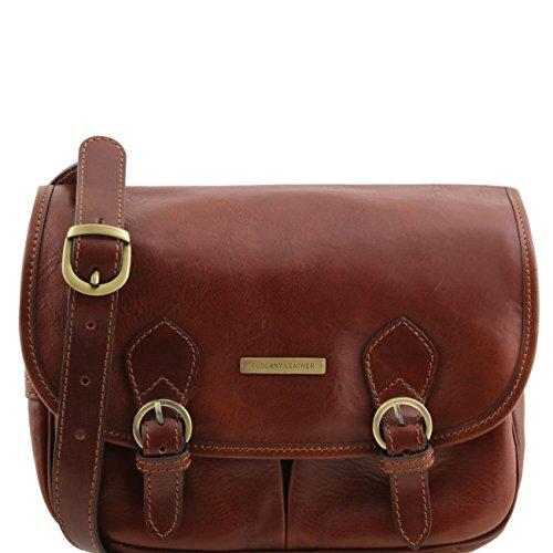 Tuscany Leather Giulia - Sac bandoulière en cuir avec rabat Marron Sacs à bandoulière en cuir Marron