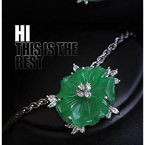 OUYANG Puro arte flores verde natural piedra cristal de Austria chica broche