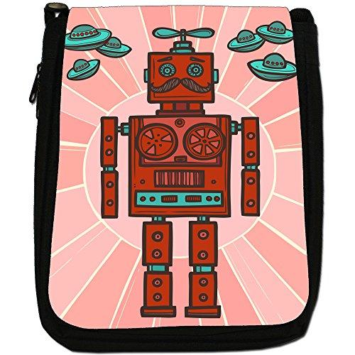 retrò Hipster Robot Medium Nero Borsa In Tela, taglia M Retro Red Fan Robot