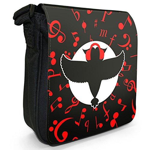 Musikalische Tiere Kleine Schultertasche aus schwarzem Canvas Musikalische Eule