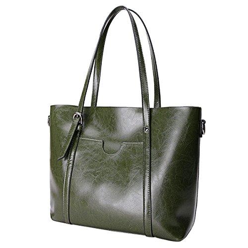 Frauen Mode Handtaschen Mode Einkaufstaschen Wachstasche ArmyGreen