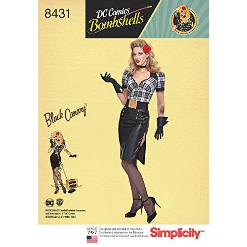 Simplicity Schnittmuster 8431| Schnittmuster DC Bombshell Schwarz Kanarischen Kostüm | (7 Kostüme 9)